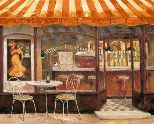 Consider fabric awning over bar area and seats to reflect Old Italian Trattoria. Use more subdued colors.
