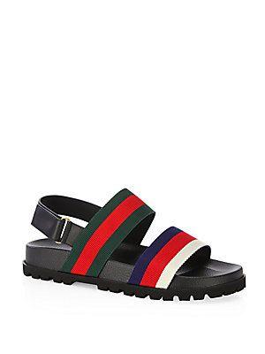 0aab3168d9e Gucci Rimini Leather Double Strap Sandals