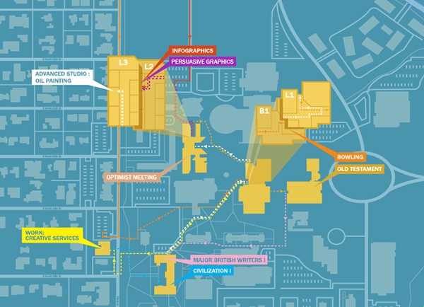 A Map Of My Daily Routes Wayfinding Map Infographic Map