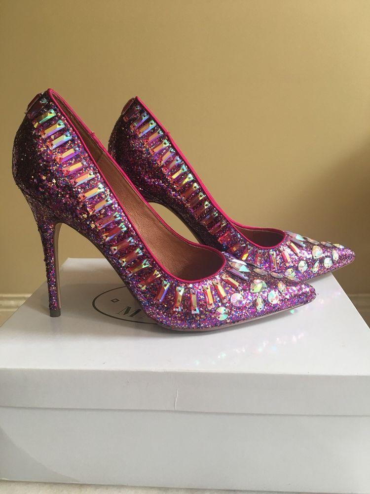 efce75fcdde43 NWB Steve Madden Galaxy Size 8 Glitter Jeweled Purple Fuchsia Pump High  Heels