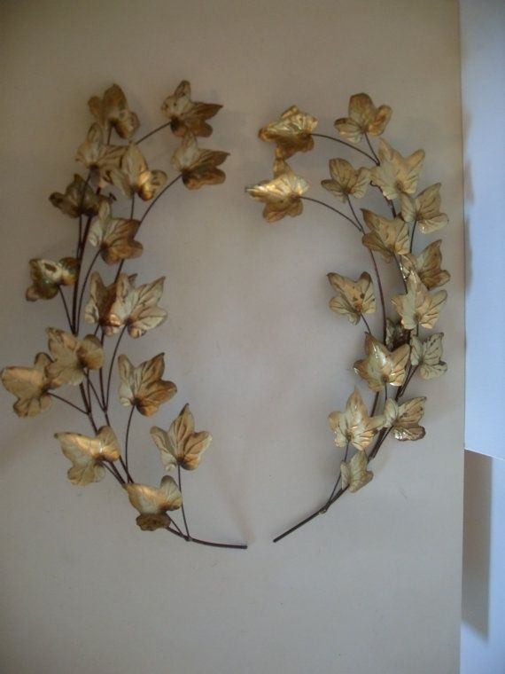 8118c1f0c16 Pair of Vintage Mid Century Modern Gold Toned Tole Branch/Leaf Wall  Decoration