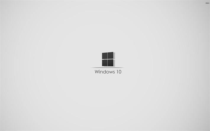 Windows 10, Gray Background, Minimal, Microsoft