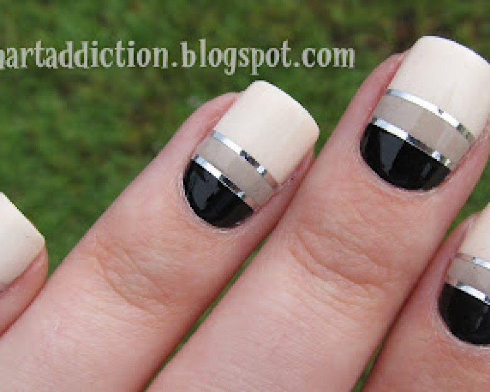 Beige And Black Nail Art Nail Art Designs Ideas Nail And