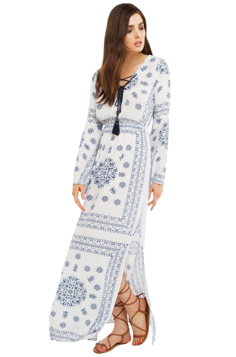 Paisley print tie up maxi dress in white and navyfeatures a v