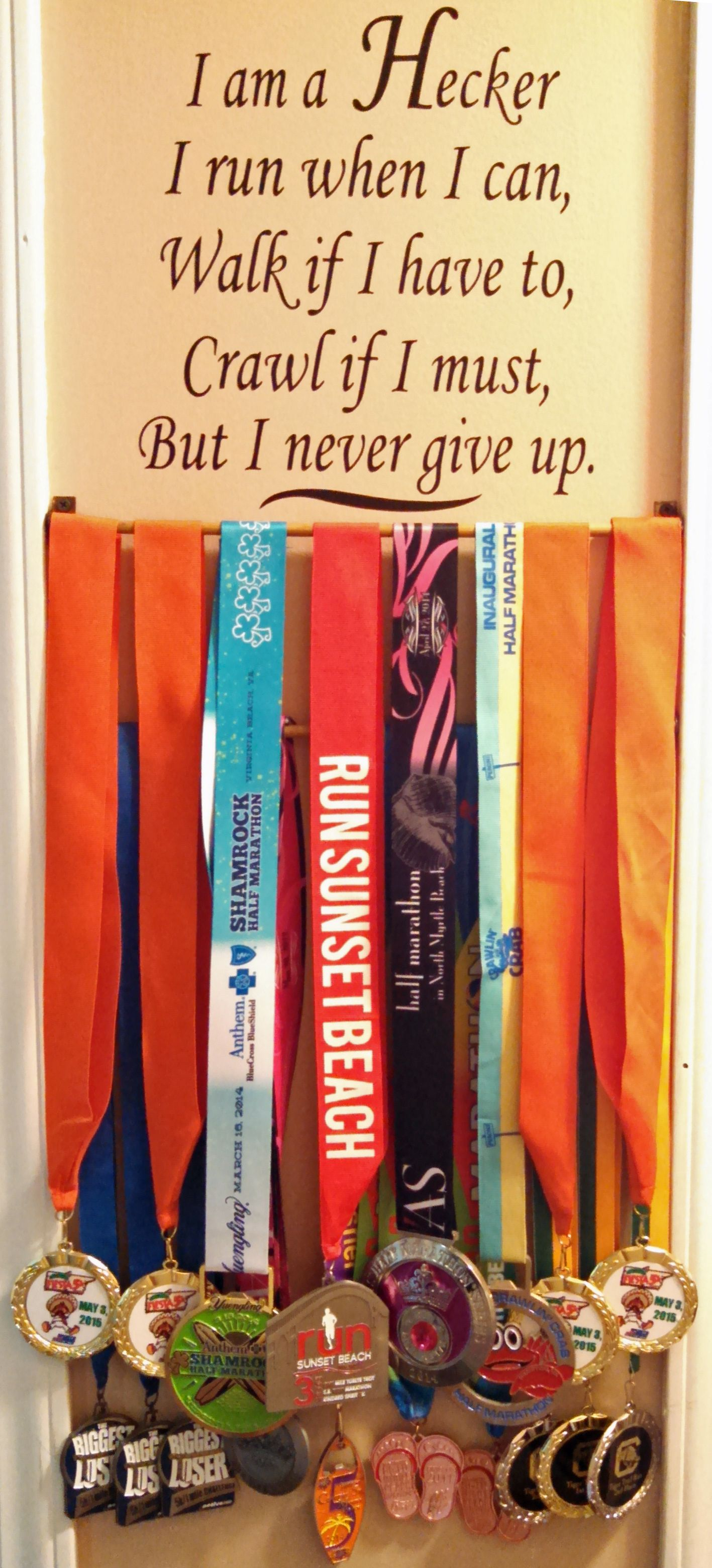 """Pinspired! I combined the many ideas I saw on Pinterest for my family's """"Run Wall"""" and made our own."""