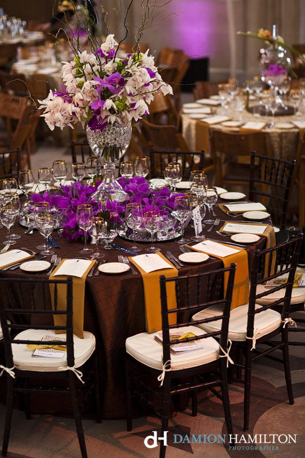 Stunning All Orchid Arrangements Brown And Purple Wedding Tabletop Photo By Damion Hamilton 3