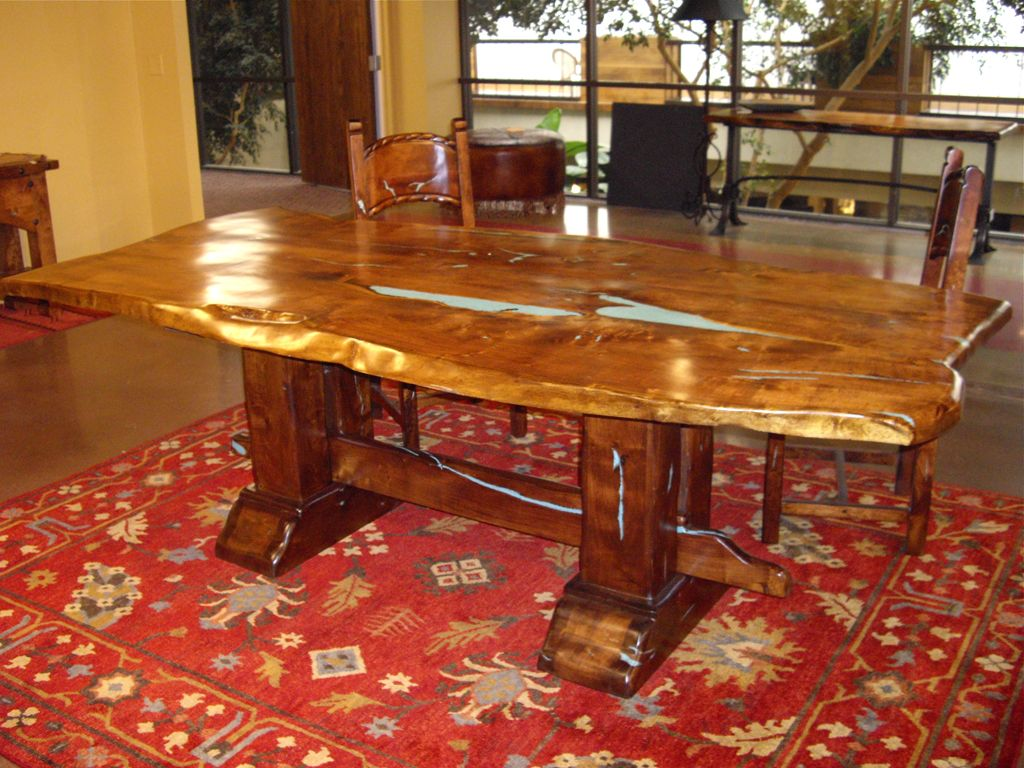 wood table turquoise inlay - google search | for the home