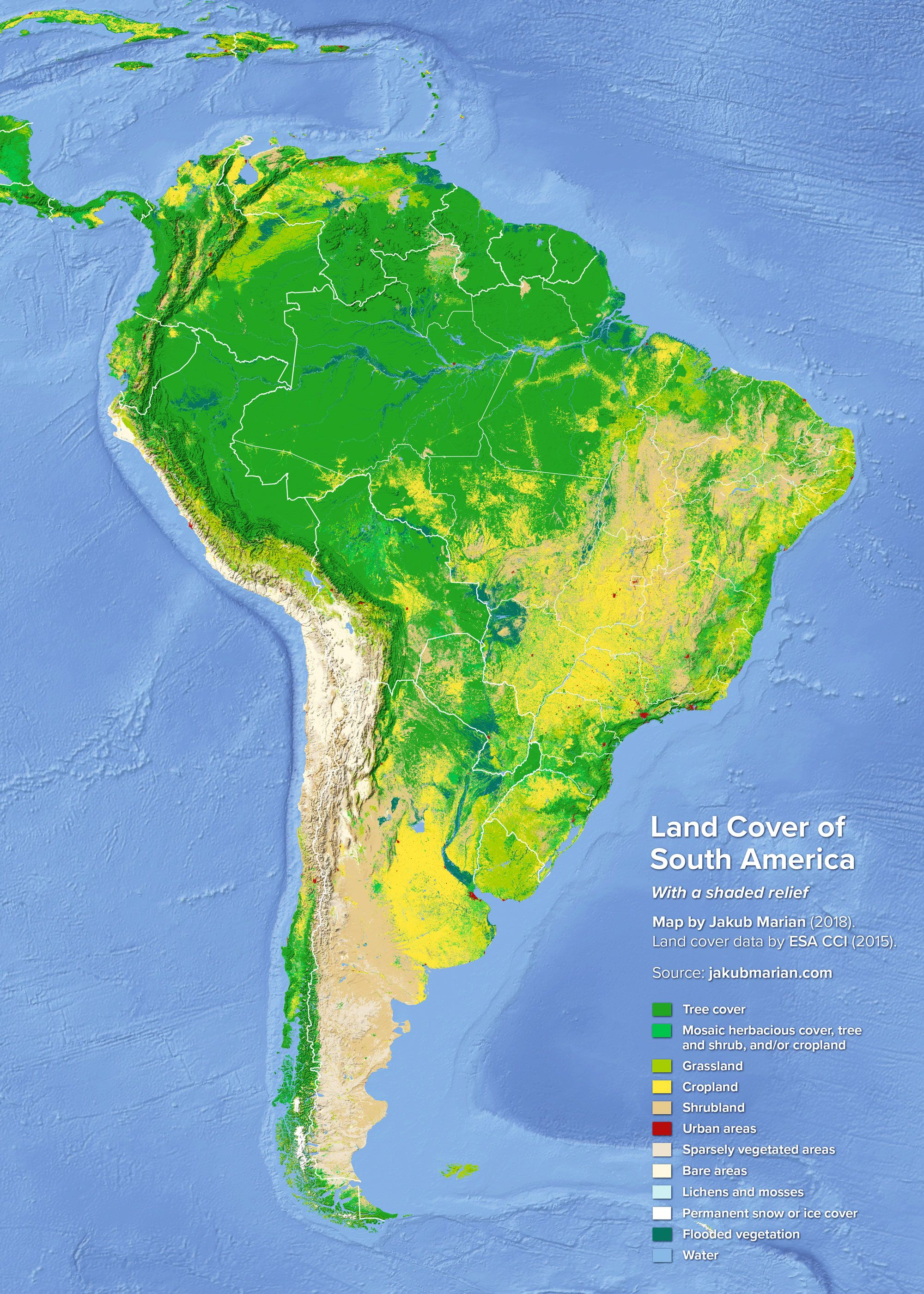 Land Cover Of South America Kort