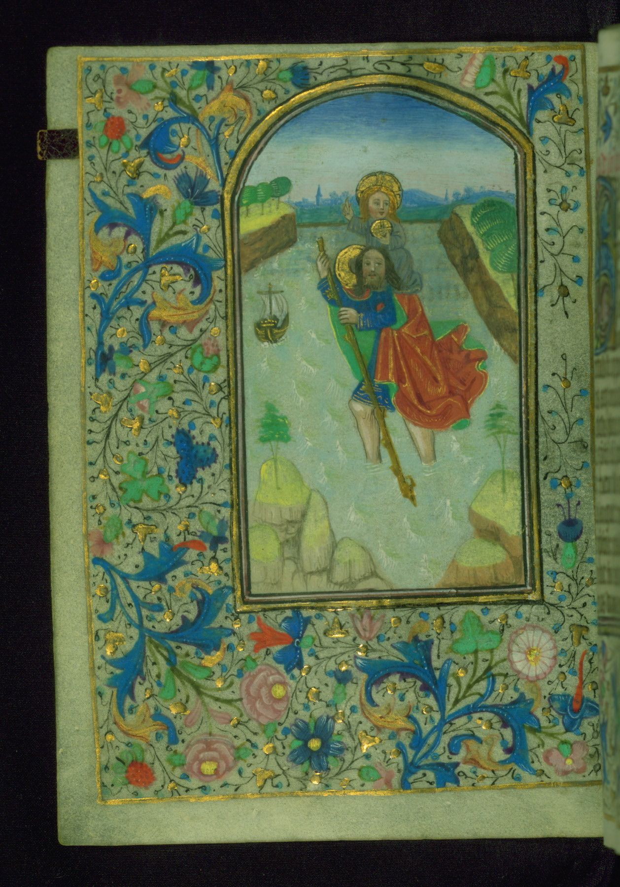 遠近両用 RT Sexy Codicology: Book of Hours, St. Christopher carrying Christ,...