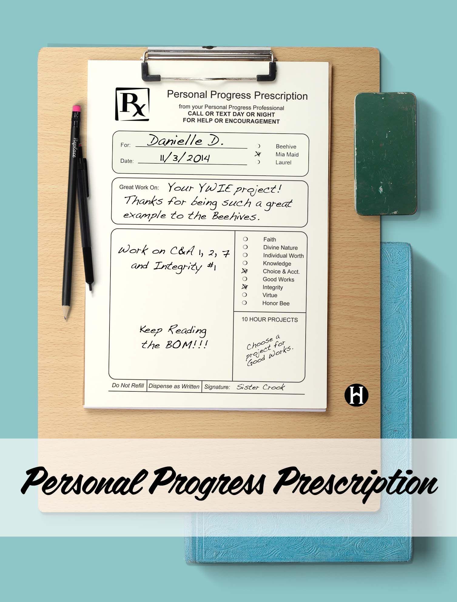 Personal Progress Prescription Pad Make Notes Of Stuff