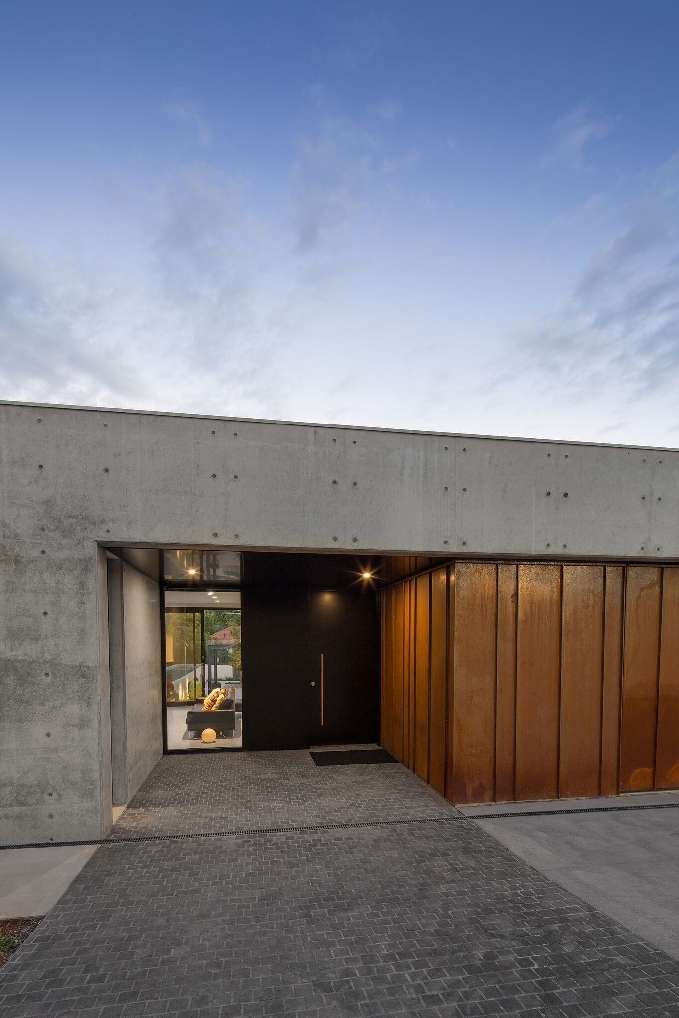 Entry   Concrete And Corten. Builder : Ross Catoi, Full Circle Constructions