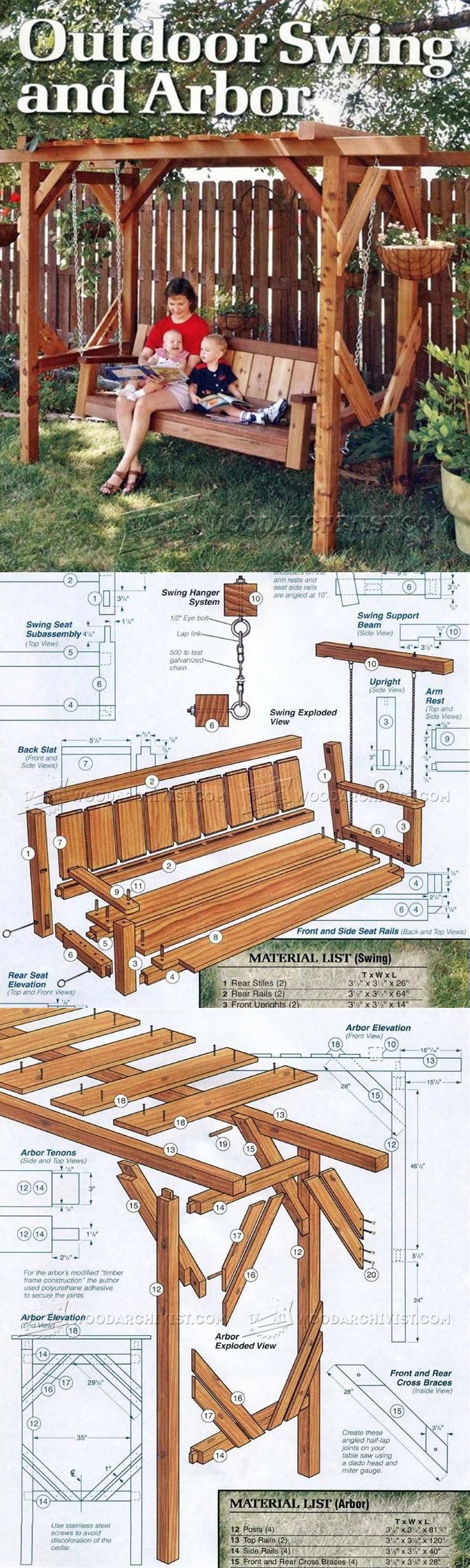 Outdoor furniture plans - Outdoor Arbor Swing Plans Outdoor Furniture Plans And Projects Woodarchivist Com