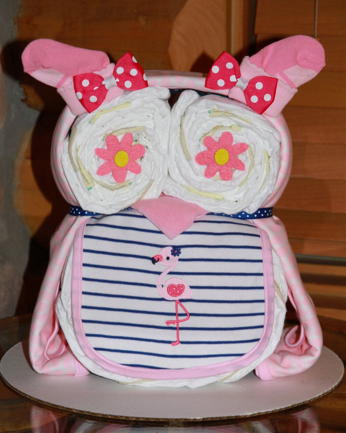baby girl diaper owl diaper cake baby shower centerpiece windeltorte pinterest baby baby. Black Bedroom Furniture Sets. Home Design Ideas