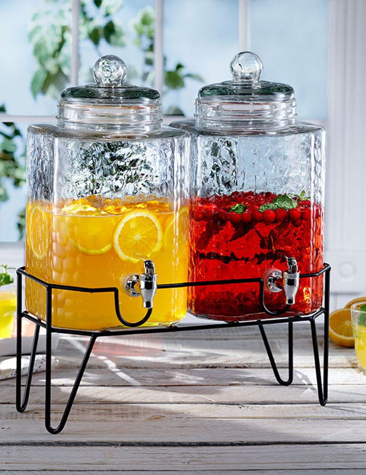 727e354d962 This classy Style Setter Hamburg Beverage Dispenser Set with Stand comes  with two glass containers and a metal stand to keep them standing high for  your ...