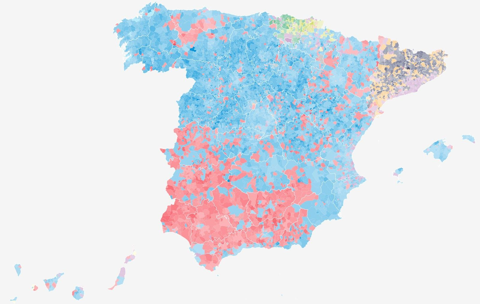 The Spanish Election Map Spain Pinterest Election Map And - Blended map of the us election
