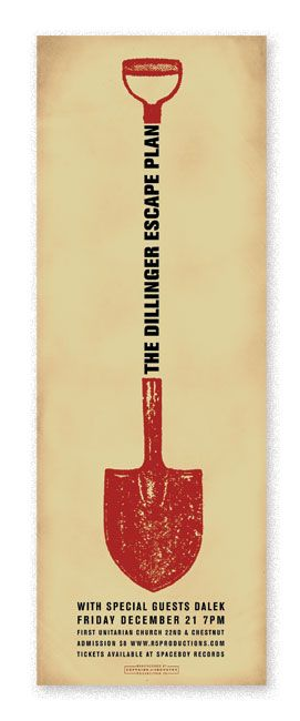 Dillinger Escape Plan  삽의 나무부분을 글자들로 이용하였다. 붉은 색과 대비되게 하여 글씨를 읽도록 유도시킨 재미있다.