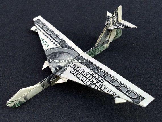 Boeing 747 Flugzeug Geld Origami Dollar Von