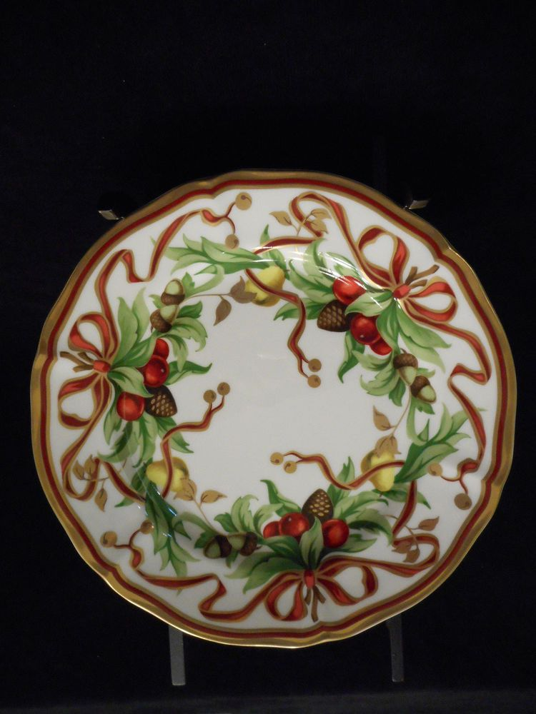 Set 8 Tiffany Co Holiday Christmas Dessert Plates New In Blue