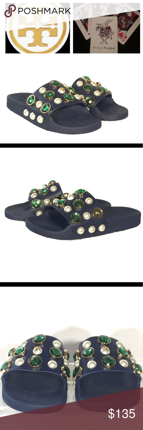 0d89682c5bbd New Tory Burch Vail Slide Sandals Sz 6 Jeweled   Brand - Tory Burch   Brand  new without box. One green gem is missing off side of left sandal and is ...