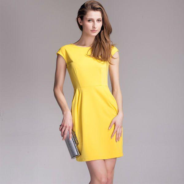 07702474eb4b6 vestidos amarillos casuales de moda 1