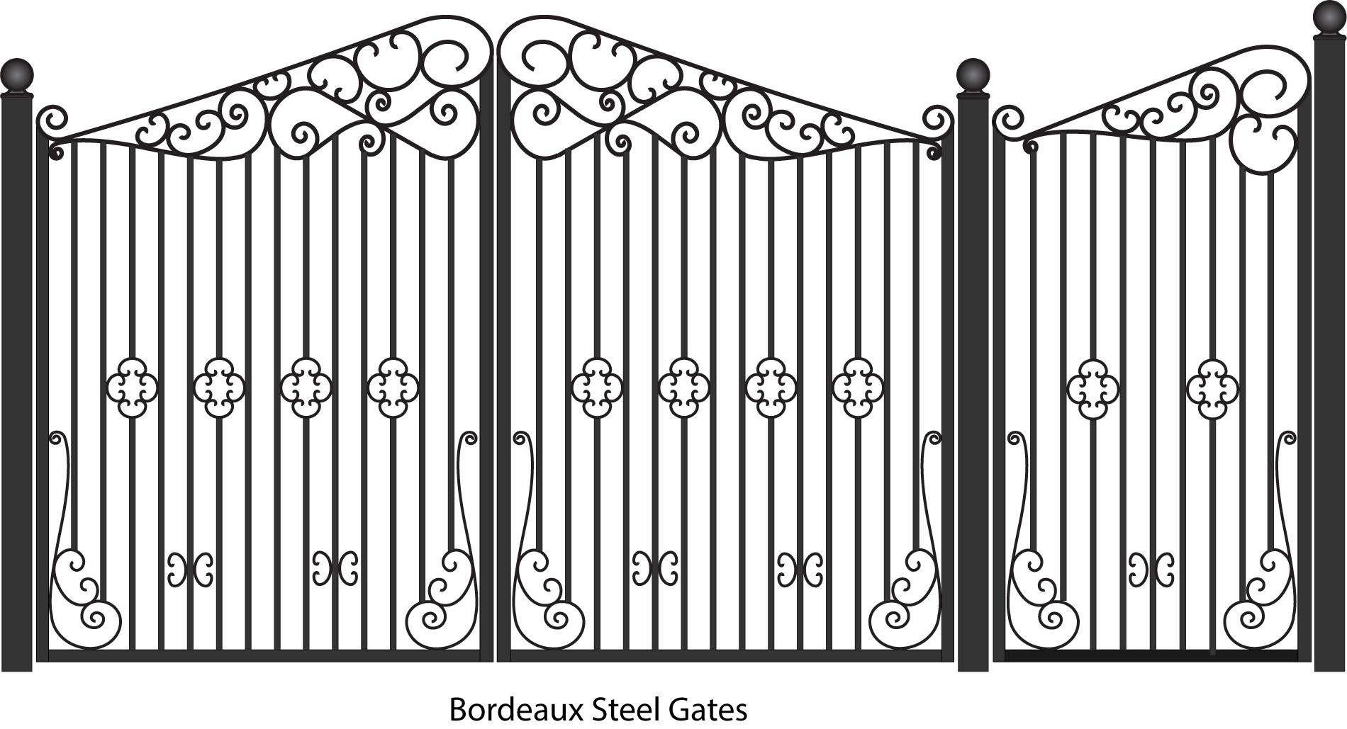 Bordeau Steel Driveway And Pedestrian Entreance Gates With Scrolls Wrought Iron Gates Steel Gate Steel Gate Design