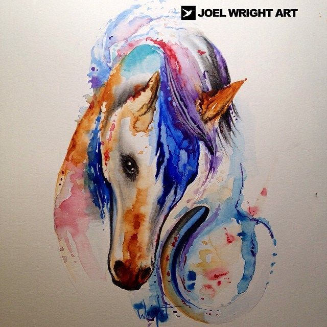 Horse And Horseshoe Watercolor Painting For Tattoo Watercolor