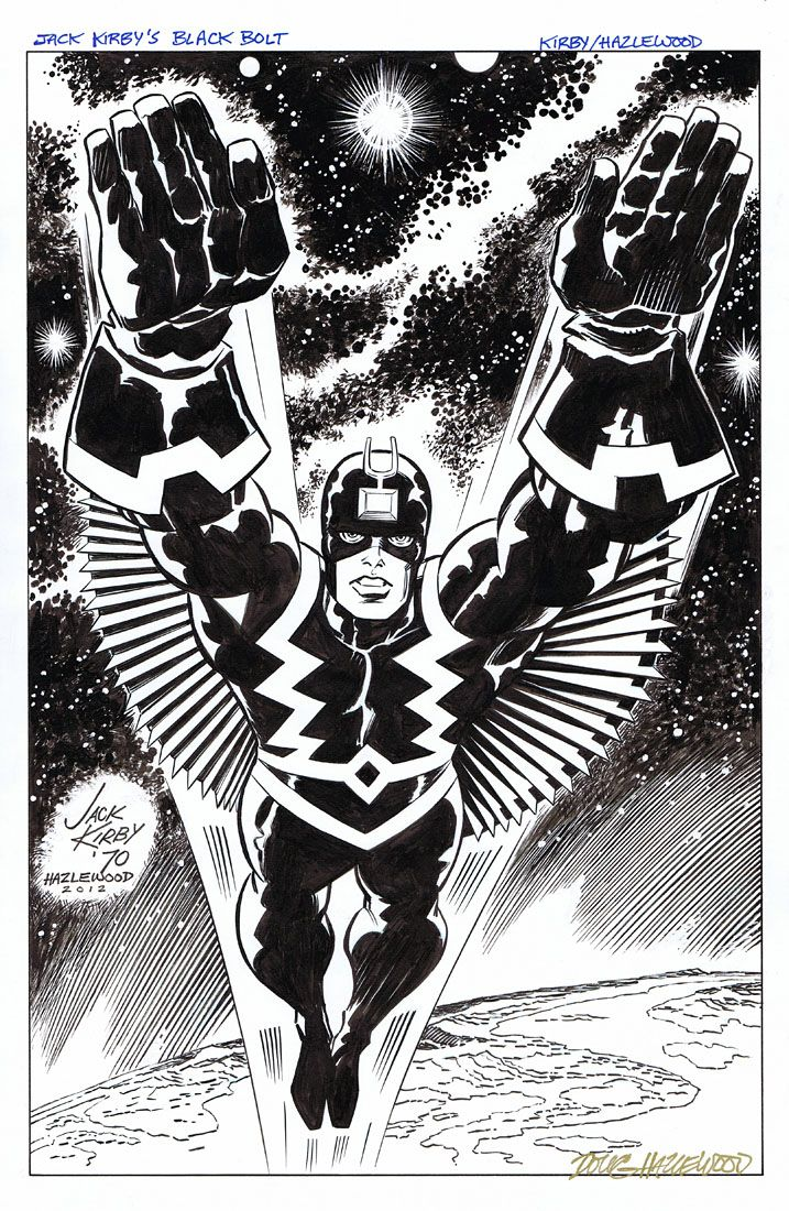 Black Bolt, inked from original Kirby pencils by Dough Hazelwood ...