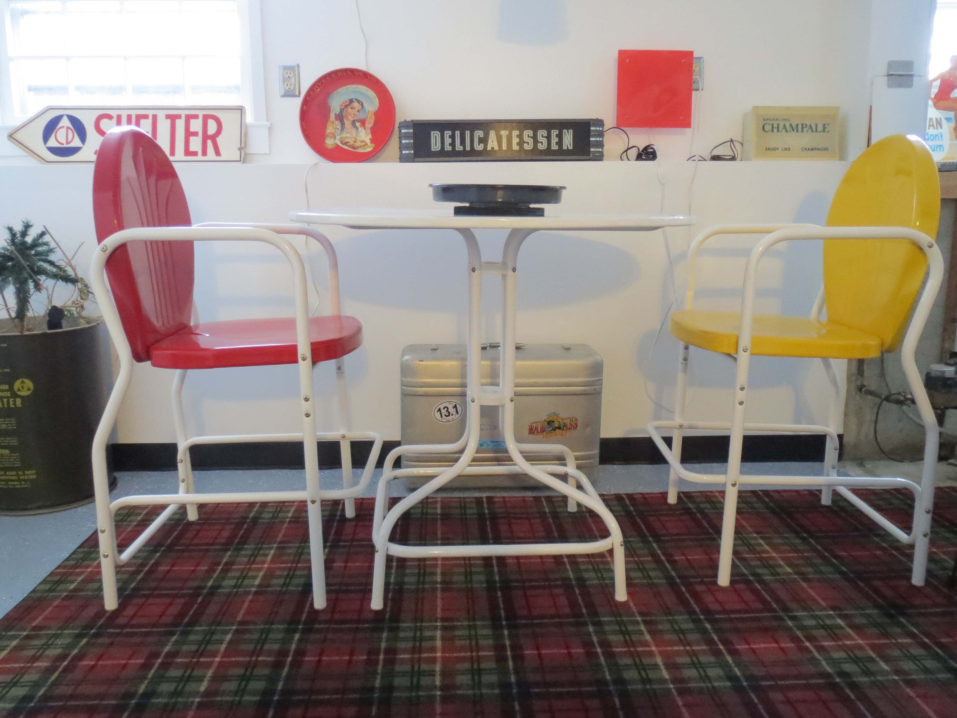 Torrans Manufacturing Retro Metal Bar Table And Chairs In Its Winter Home  In My Basement Rumpus