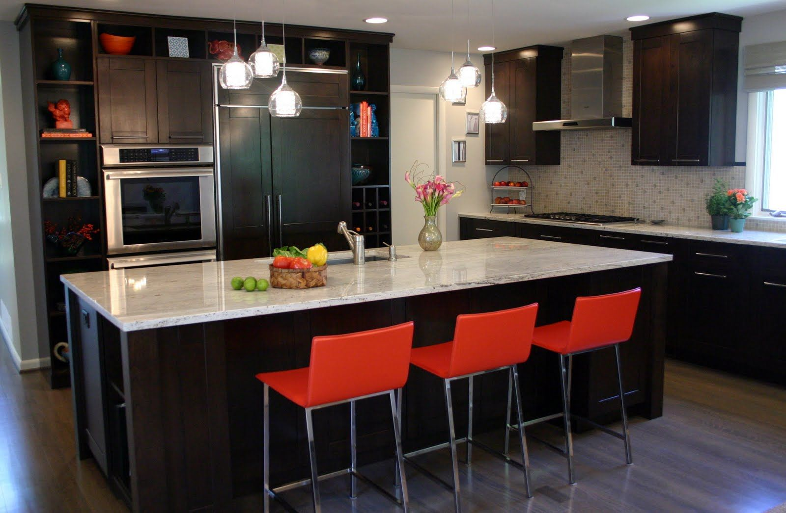 kitchen: espresso cherry cabinets , gray-stained oak floors