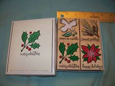 Hero Arts Set of 4 Christmas Wood Mounted Rubber Stamp Very Gently Used