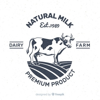 Hand Drawn Cow Milk Logo Cow Logo Milk Cow How To Draw Hands