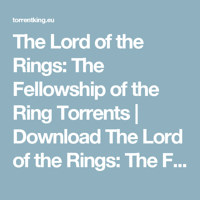 Lord of the rings return of the king torrent kickass