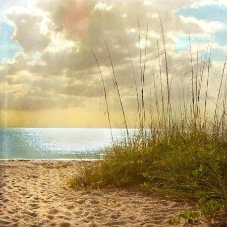 Beach Dreams III - Art Print 8x8. Beach photography, landscape photography, sand grass, sunset, blue ocean, florida.