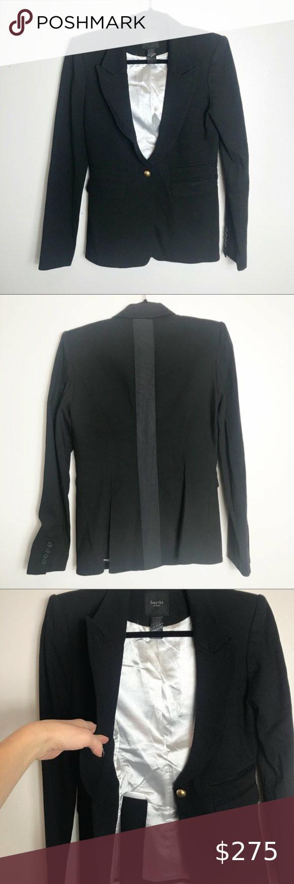 Smythe Single Button Black Suit Jacket Smythe Suit Jacket Coat Blazer Black Fully Lined Single Button Closure G Black Suit Jacket Black Suits Blazer [ 1740 x 580 Pixel ]