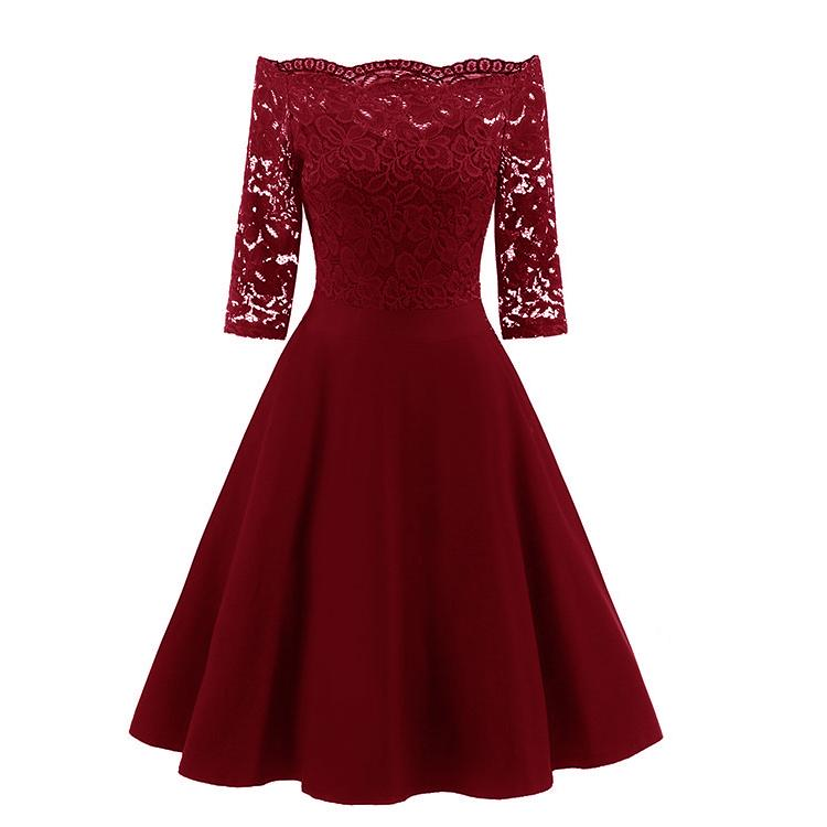Short Burgundy Bridesmaid Dresses One Shoulder Prom Dress With Sleeves 1597b Vintage Flare Dress Vintage Swing Dress Flare Dress