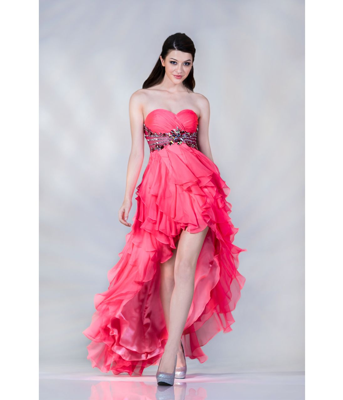 2013 Prom Dresses- Hot Pink High-Low Ruffle Gown - Unique Vintage ...