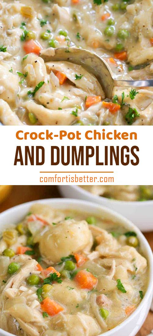 Easy Crock Pot Chicken and Dumplings. Juicy chicken breasts cook to tender perfection in the slow cooker in a rich creamy sauce. #slowcooker #chicken #chickendumplingscrockpot