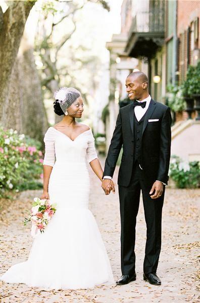 such a stylish couple ~ I'm pretty sure the bride is wearing Monique Lhuillier's Addie! {a more demure bodice}