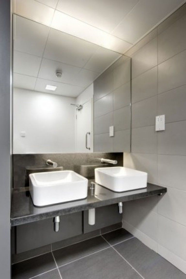 Office bathroom design for 73 commercial restroom fixtures for Easy clean bathroom design