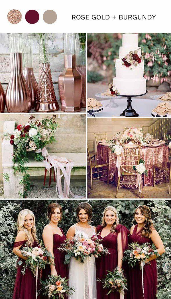 10 fall wedding color ideas youll love for 2017 jewel tones rose rose gold and burgundy fall wedding colors 2017 junglespirit Choice Image