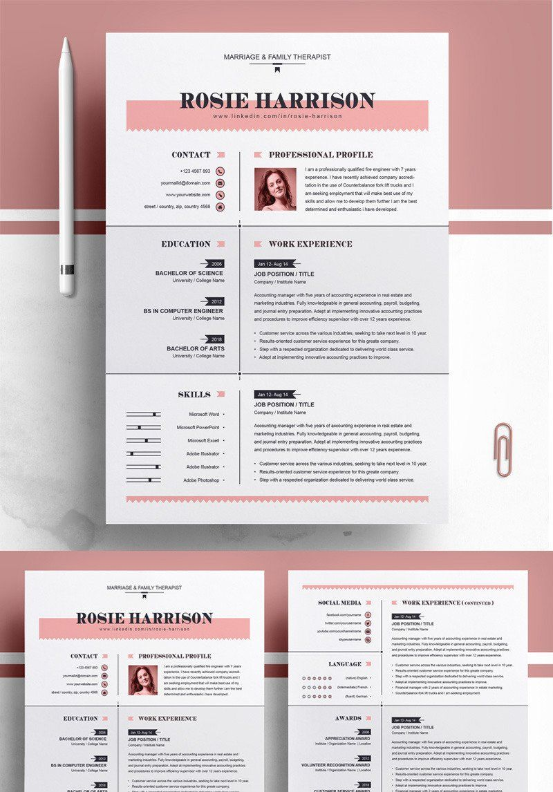 Rose Dance resume template in 2020 Resume design