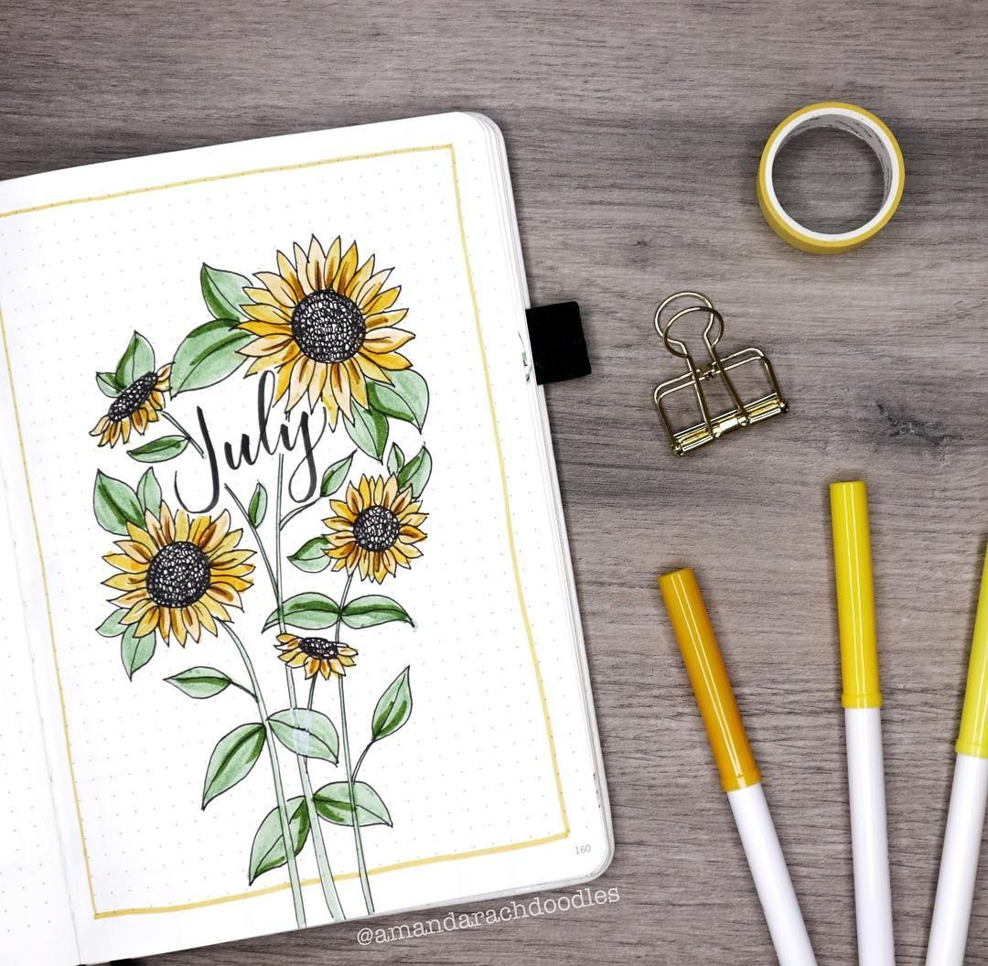 """AmandaRachLee on Instagram: """"My July plan with me & bullet journal setup is finally live! 🌻✨ Thank you for waiting patiently! Hope it was worth the wait 💛 (link is in…"""""""