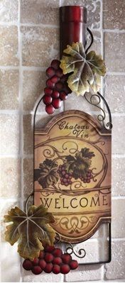 Tuscany Wine Bottle Shaped Metal Wall Art Hanging Grapes Welcome