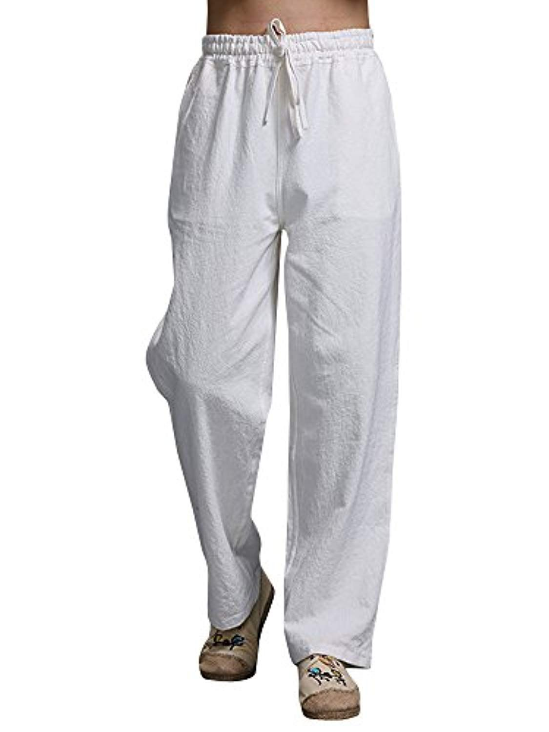 398b0b8187 Men's Casual Loose Straight Leg Elastic Waist Linen Beach Pants Trousers  Drawstring *** Details can be found by clicking on the image.