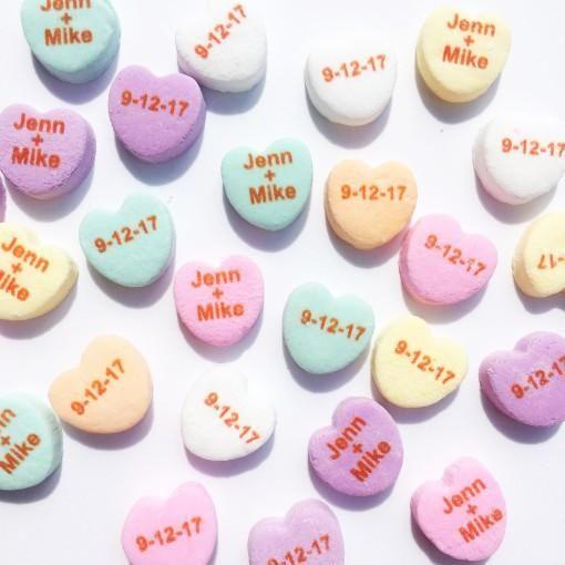custom candy hearts 1000 hearts custom candy favors and wedding