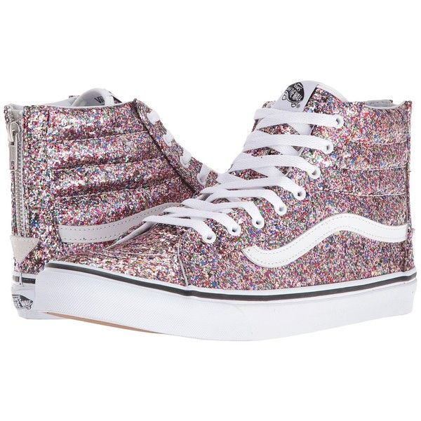 063f705bcc Vans SK8-Hi Slim Zip ((Chunky Glitter) True White) Skate Shoes ( 85) ❤  liked on Polyvore featuring shoes