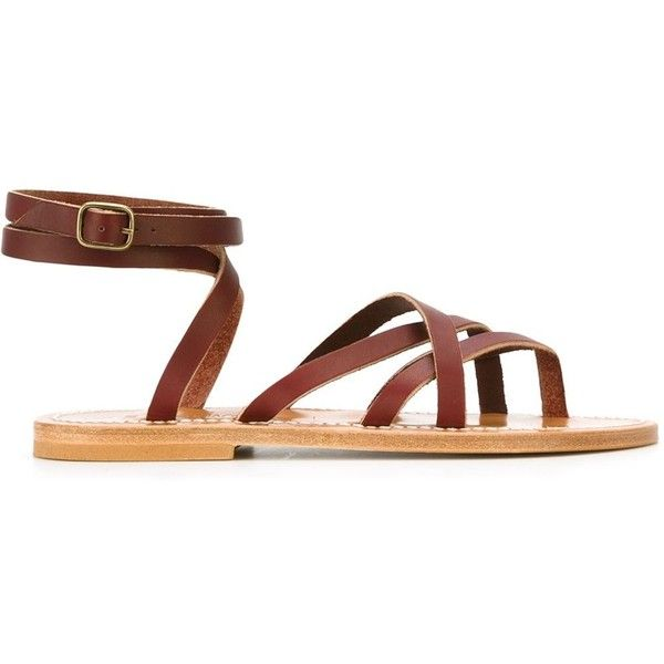 K. Jacques Zenobi Tie Back Strappy Sandals ($287) ❤ liked on Polyvore featuring shoes, sandals, k jacques sandals, real leather shoes, dark red shoes, strappy shoes and genuine leather shoes