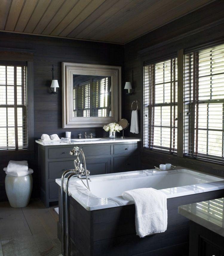 ameublement-salle-bain-gris-anthracite-lambris-bois-foncé-accents ...