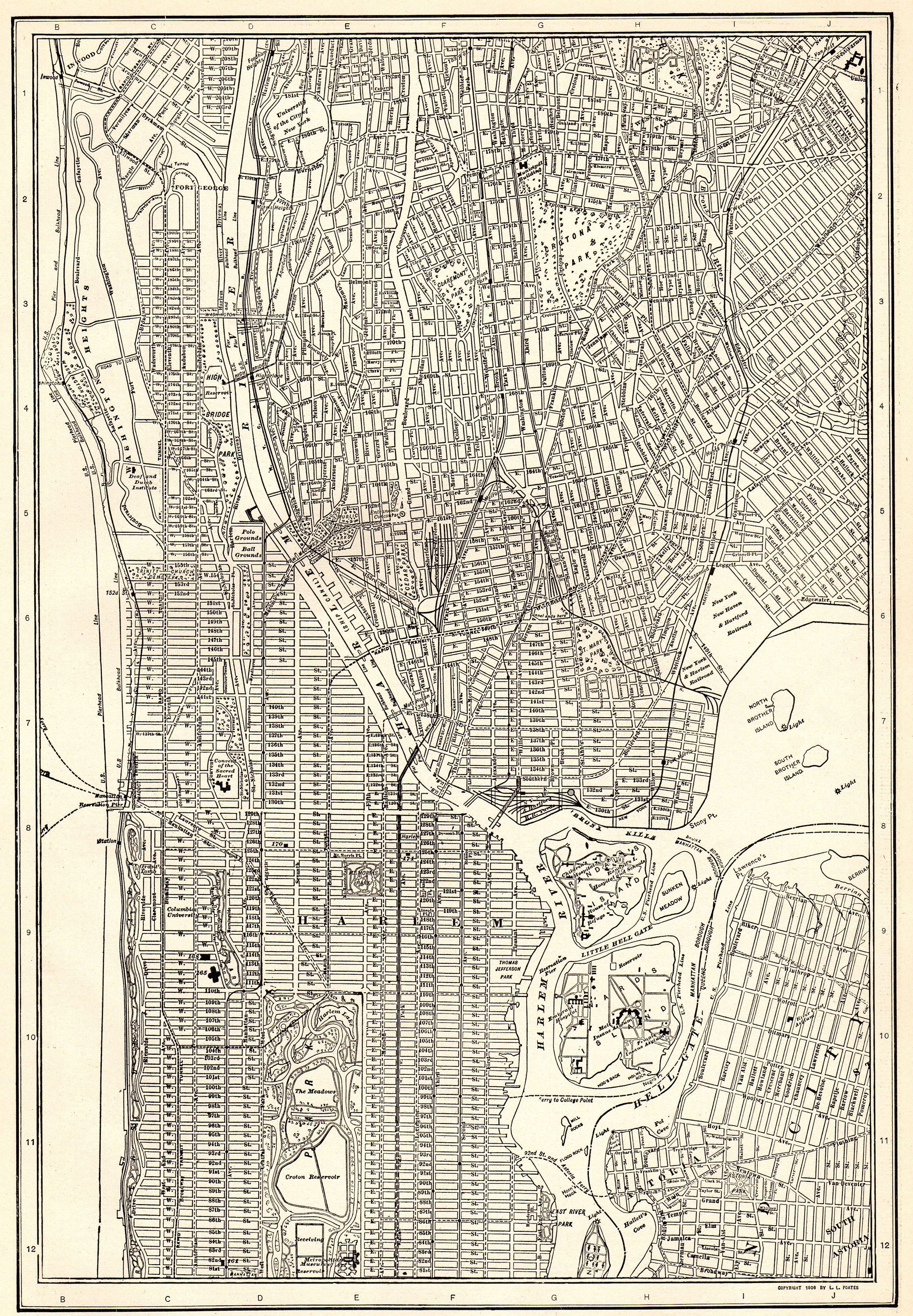 1923 Antique Manhattan Map New York City Map The Bronx Map Black And White Gallery Wall Art Gift For Wedding Gradua Bronx Map New York City Map Map Of New York
