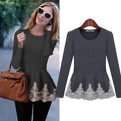 54be7e4e73 New Womens Ladies Flared Stretchy Peplum Frill Top Slim Long Sleeve ...